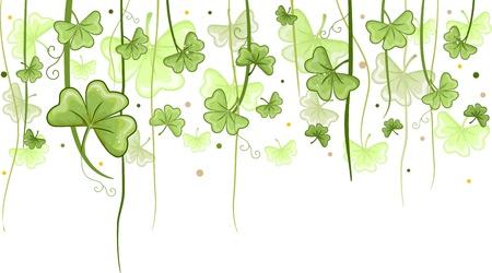 Illustration of Shamrock Vines Hanging from Above for Background illustration
