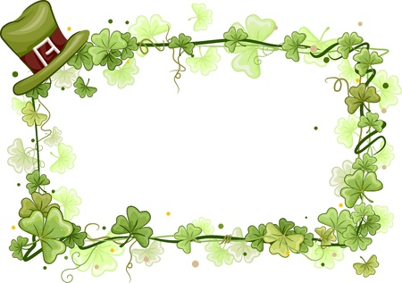 paddys: Illustration of a Frame Surrounded by Shamrock Vines