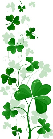 saint paddy's: Illustration of a Side Ornament Featuring Shamrocks