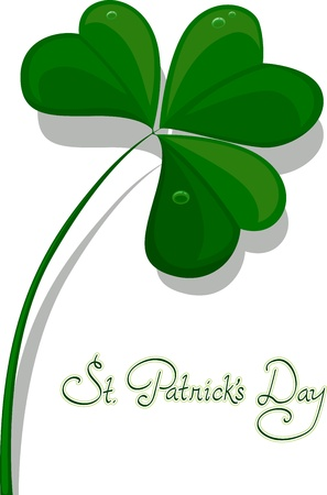 st paddys day: Illustration of a Large Clover with Saint Patricks Day Written Underneath Stock Photo