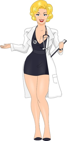 foxy: Illustration of a Pin-up Girl Wearing a Doctors Uniform Stock Photo
