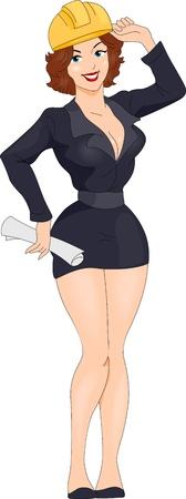 arquitecto caricatura: Ilustraci�n de una chica Pin-up vestido como un ingeniero
