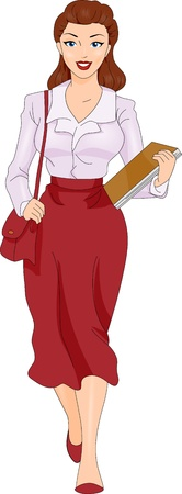 An Illustration of Female Secretary Carrying Papers illustration