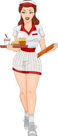 foxy: Illustration of a Pin-up Girl Wearing the Uniform of a Waitress