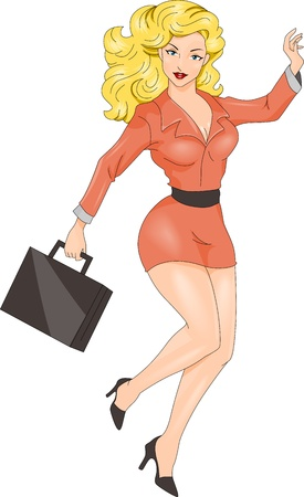 foxy girls: Illustration of a Pin-up Girl Wearing a Businesswomans Attire