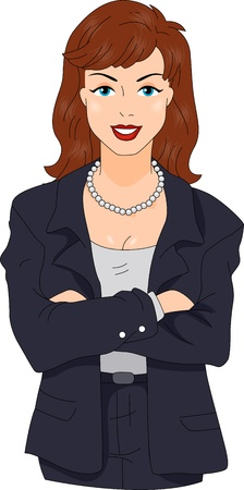 female boss: Illustration of a Businesswoman with a Retro Look
