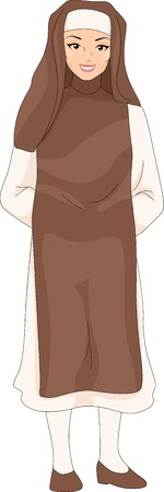 Illustration of a Girl Wearing a Nun Costume Stock Illustration - 9069112