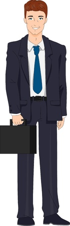 suit case: Illustration of a Businessman with a Retro Look Stock Photo