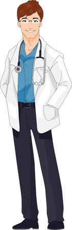 medico caricatura: Ilustraci�n de un m�dico con un aspecto Retro