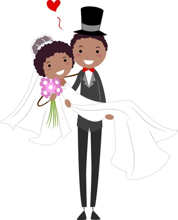 african american woman: Illustration of a Groom Carrying His Bride