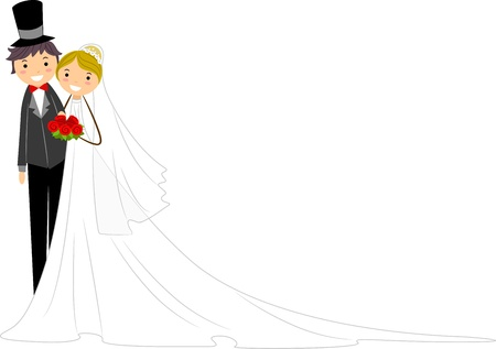 Illustration of Happy Newlyweds Standing Side by Side illustration