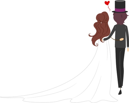Illustration of a Newlywed Couple with Their Backs Turned Stock Illustration - 9151133