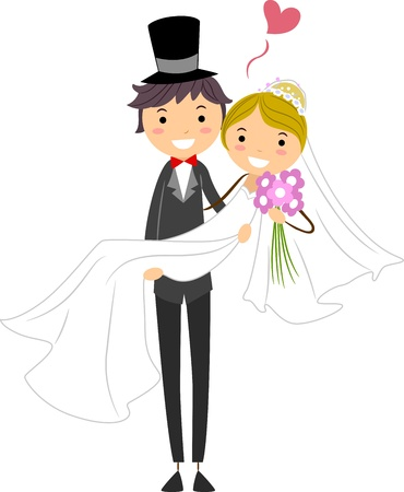 Illustration of a Groom Carrying His Bride Stock Illustration - 9151182