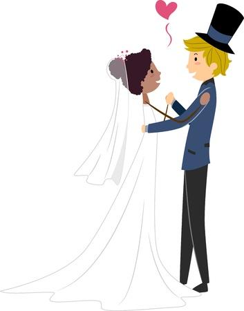 interracial marriage: Illustrazione di una sposa africana e uno sposo caucasica Archivio Fotografico