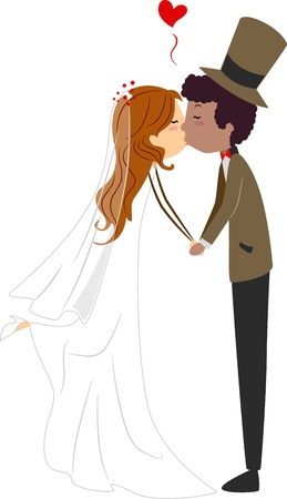 Illustration of an Interracial Couple Sharing a Kiss illustration