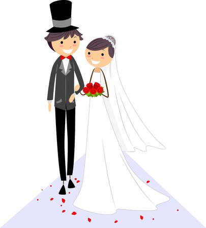 cartoon wedding couple: Illustration of a Bride and Groom Walking on the Aisle Stock Photo