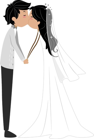 Illustration of a Newlywed Couple Sharing a Kiss illustration