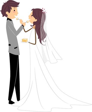 Illustration of Newlyweds Sharing a Slice of Cake illustration