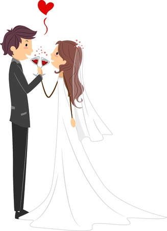 Illustration of Newlyweds Toasting to Their Marriage Stock Illustration - 9151155