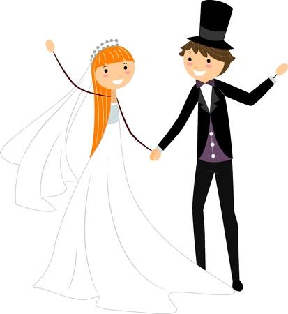 Illustration of Newlyweds Dancing Together illustration