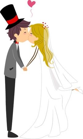 Ilustración de recién casados compartir un beso Foto de archivo