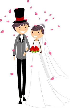 cartoon wedding couple: Illustration of Newlyweds Being Showered with Petals Stock Photo