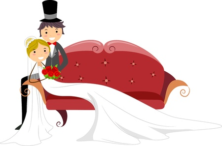 settee: Illustration of a Newlywed Couple Sitting on a Sofa
