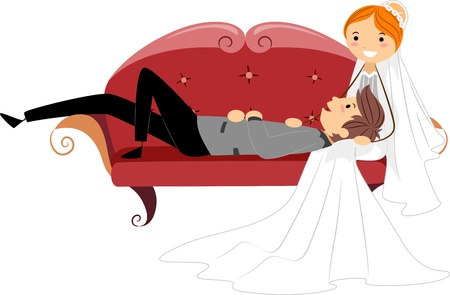on lap: Illustration of Newlyweds Resting on a Couch
