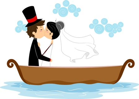 Illustration of Newlyweds Kissing in a Boat illustration