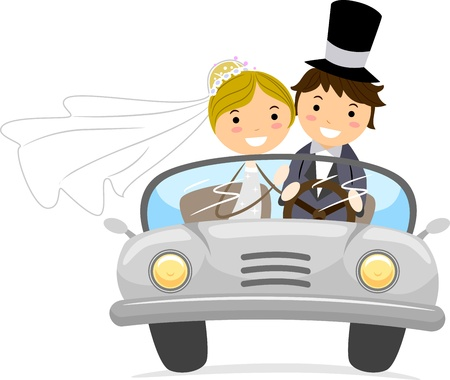 honeymoon: Illustration of Newlyweds in a Bridal Car