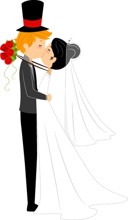 asian wedding couple: Illustration of an Interracial Couple Sharing a Kiss