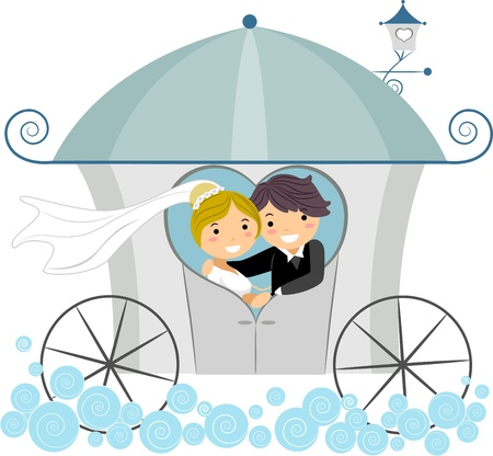Illustration of Newlyweds in a Wedding Carriage illustration
