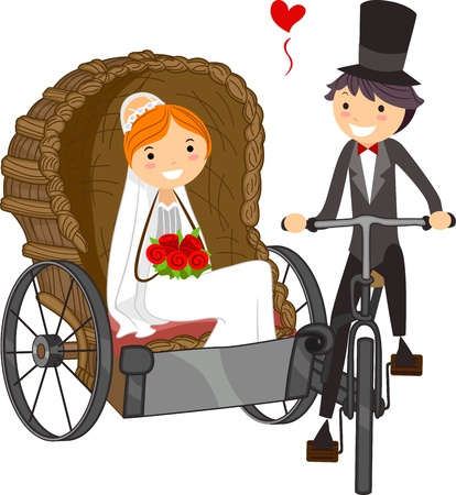 rickshaw: Illustration of a Bride in a Wedding Carriage Stock Photo
