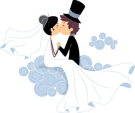 newlyweds: Illustration of Newlyweds Sharing a Kiss