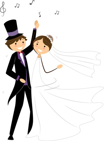 Illustration of Newlyweds Performing a Wedding Dance illustration