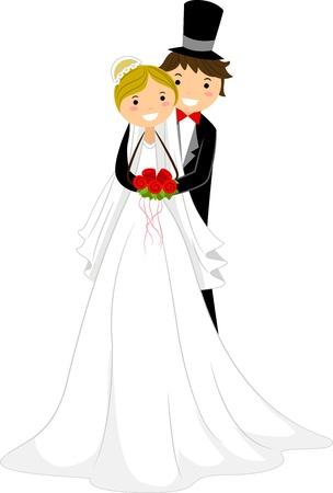 Illustration of a Groom Hugging His Bride Stock Illustration - 9151147