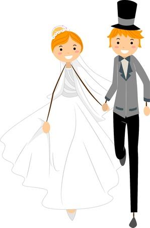 flee: Illustration of Newlyweds on the Run