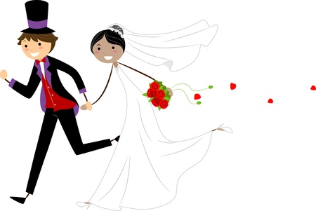 woman run: Illustration of Interracial Newlyweds on the Run