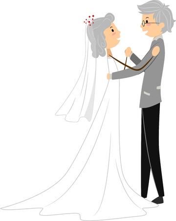 Illustration of a Senior Couple Celebrating Dancing at Their Wedding illustration