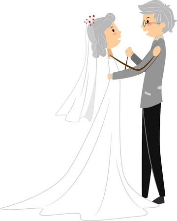 Illustration of a Senior Couple Celebrating Dancing at Their Wedding illustration