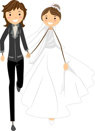 homosexual wedding: Illustration of a Lesbian Couple on the Run