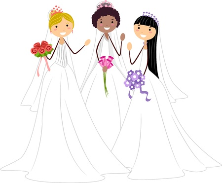 marriage cartoon: Illustration of Brides of Different Races Stock Photo