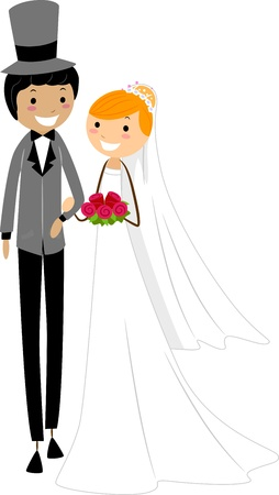 asian wedding couple: Illustration of a Newlywed Interracial Couple Stock Photo
