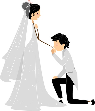 Illustration of a Groom Kissing the Hand of His Bride illustration