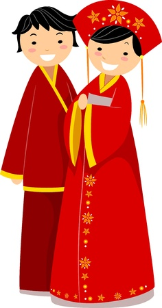 asian wedding couple: Illustration of a Newlywed Chinese Couple