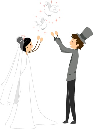 releasing: Illustration of Newlyweds Releasing Doves