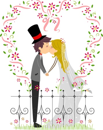 marriage cartoon: Illustration of a Couple Kissing in a Garden