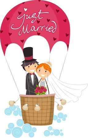 recien casados: Ilustraci�n de reci�n casados en un globo de aire caliente Foto de archivo