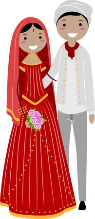 asian bride: Illustration of a Newlywed Indian Couple