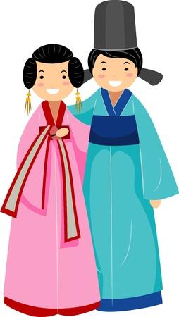 korean traditional: Illustration of a Newlywed Korean Couple